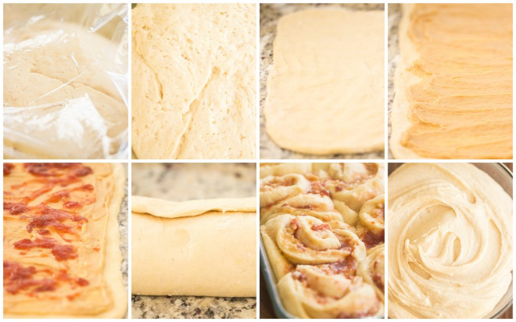 Peanut Butter & Jelly Sweet Rolls recipe image thegoldlininggirl.com collage