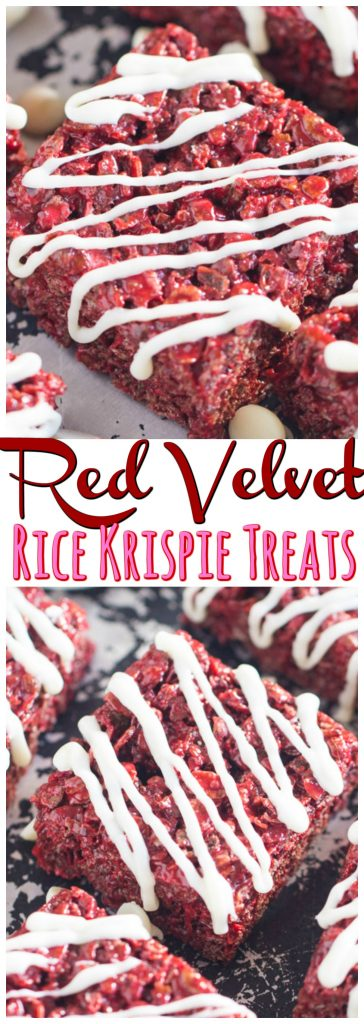 Red Velvet Rice Krispie Treats recipe image thegoldlininggirl.com pin 1