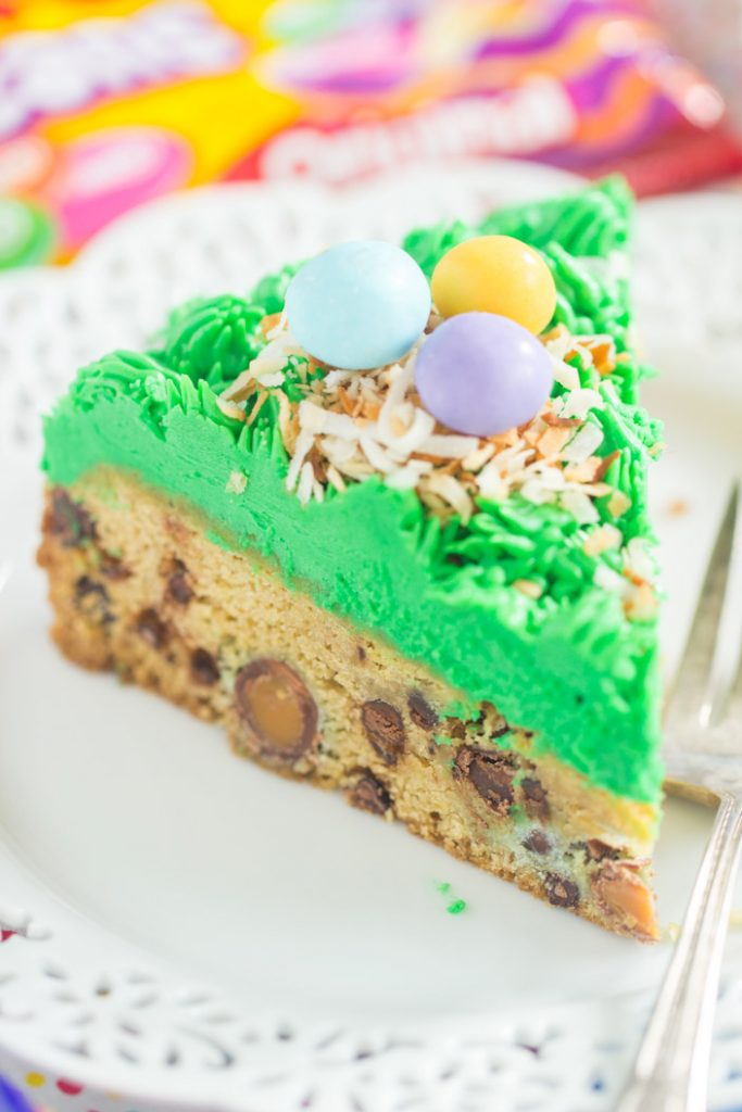 Bird's Nest Chocolate Chip Cookie Cake recipe image thegoldlininggirl.com 17