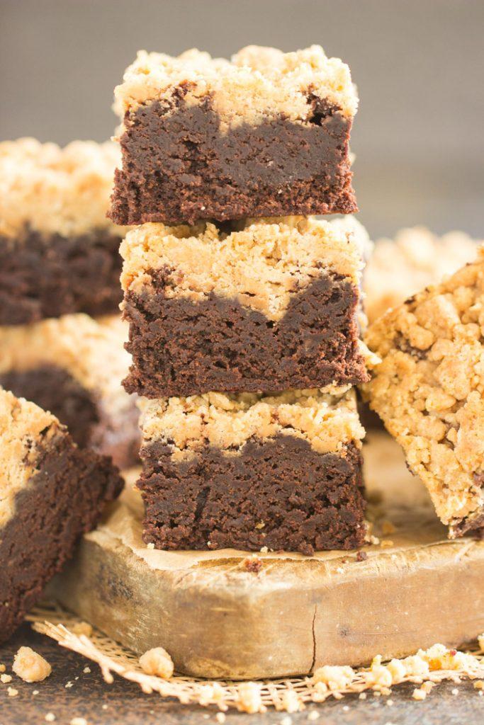 Peanut Butter Streusel Brownies recipe image thegoldlininggirl.com 1