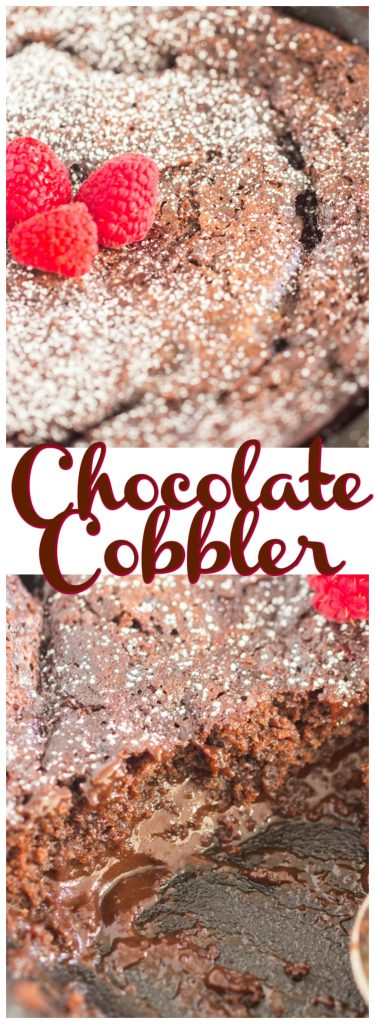 Super Easy Chocolate Cobbler recipe image thegoldlininggirl.com pin 1