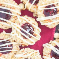 White Chocolate Raspberry Almond Thumbprint Cookies