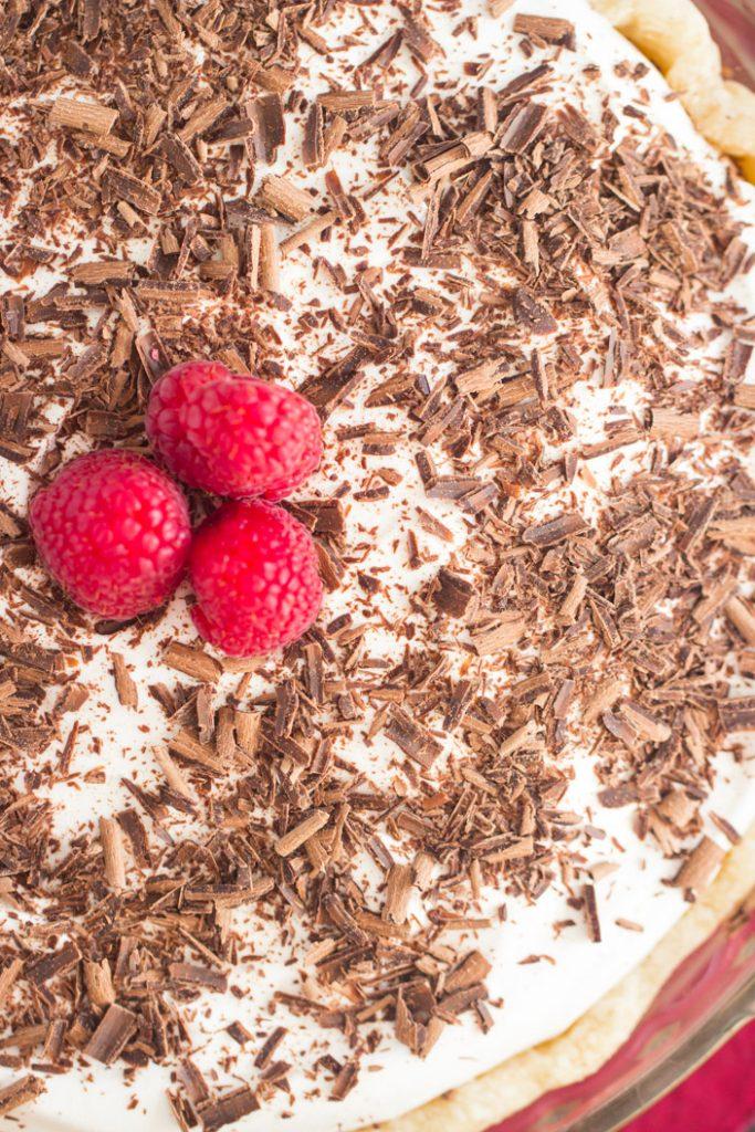 Chocolate Irish Cream Pie recipe image thegoldlininggirl.com 1