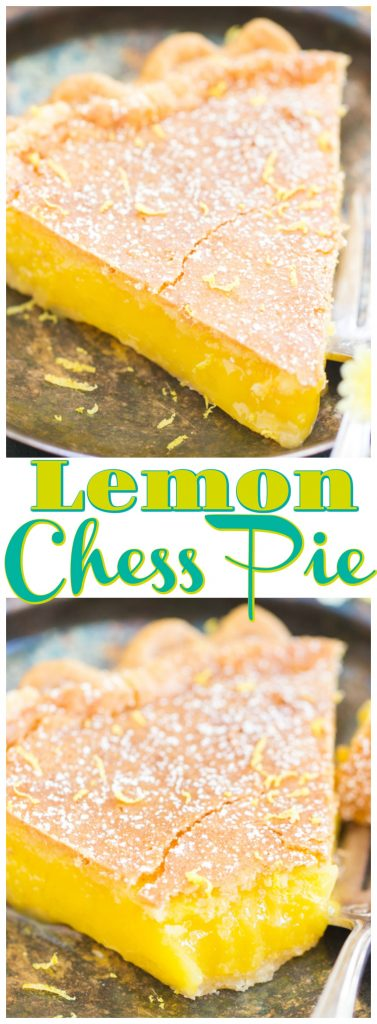 Lemon Chess Pie recipe image thegoldlininggirl.com pin