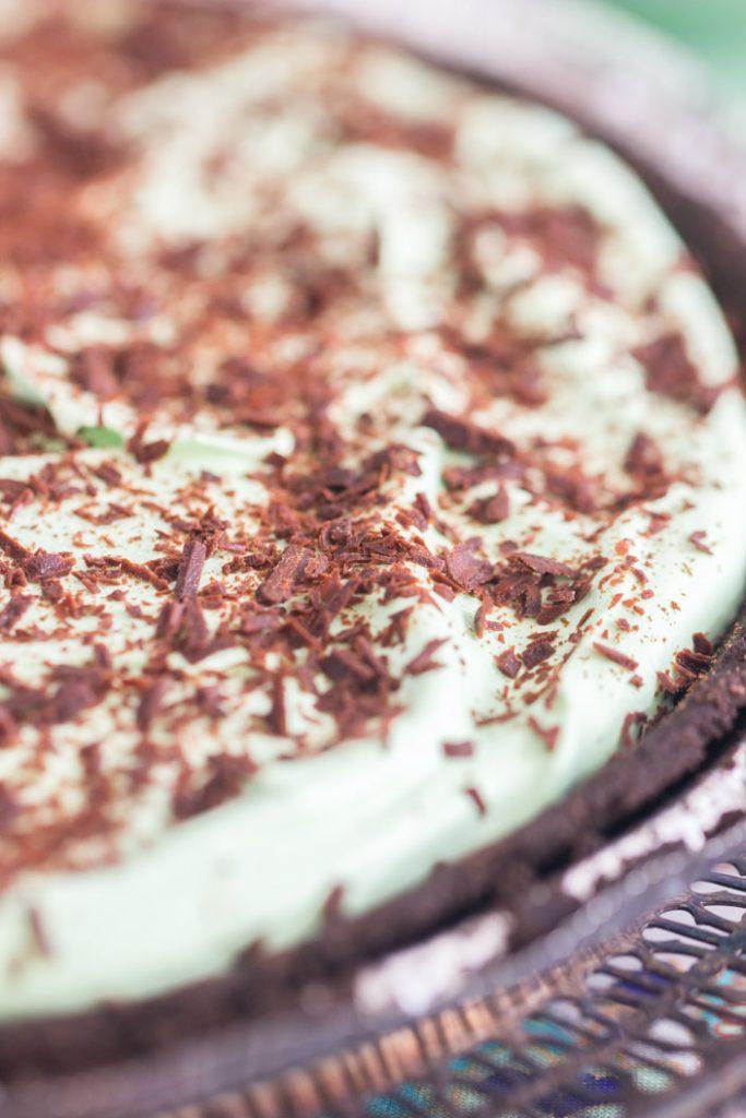 No Bake Chocolate Creme de Menthe Pie recipe image thegoldlininggirl.com 3