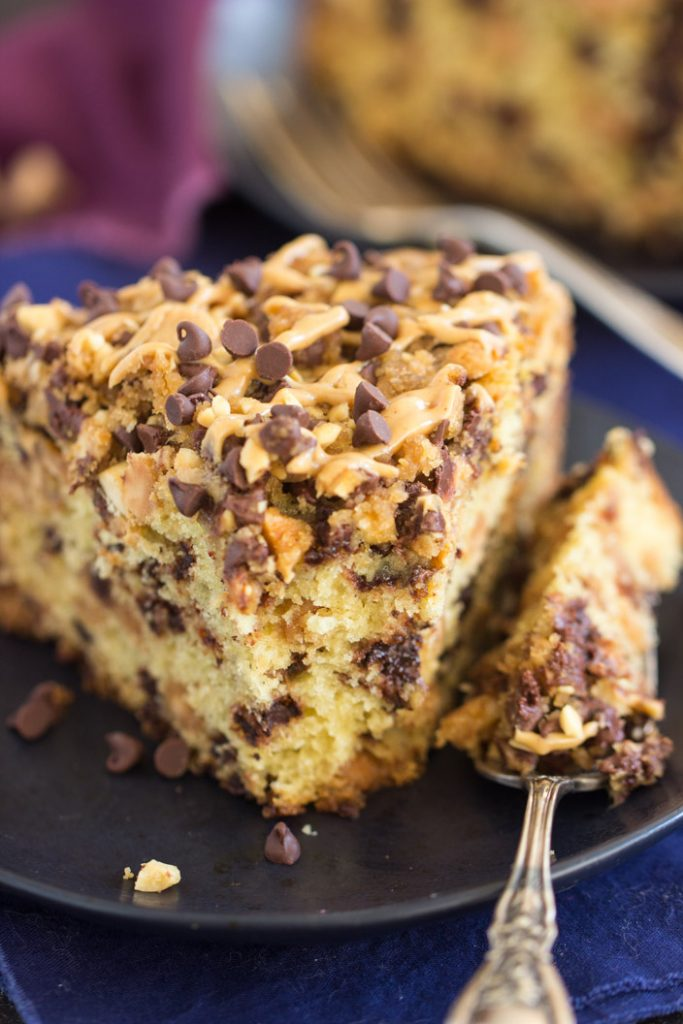Chocolate Peanut Butter Coffee Cake recipe image thegoldlininggirl.com 10