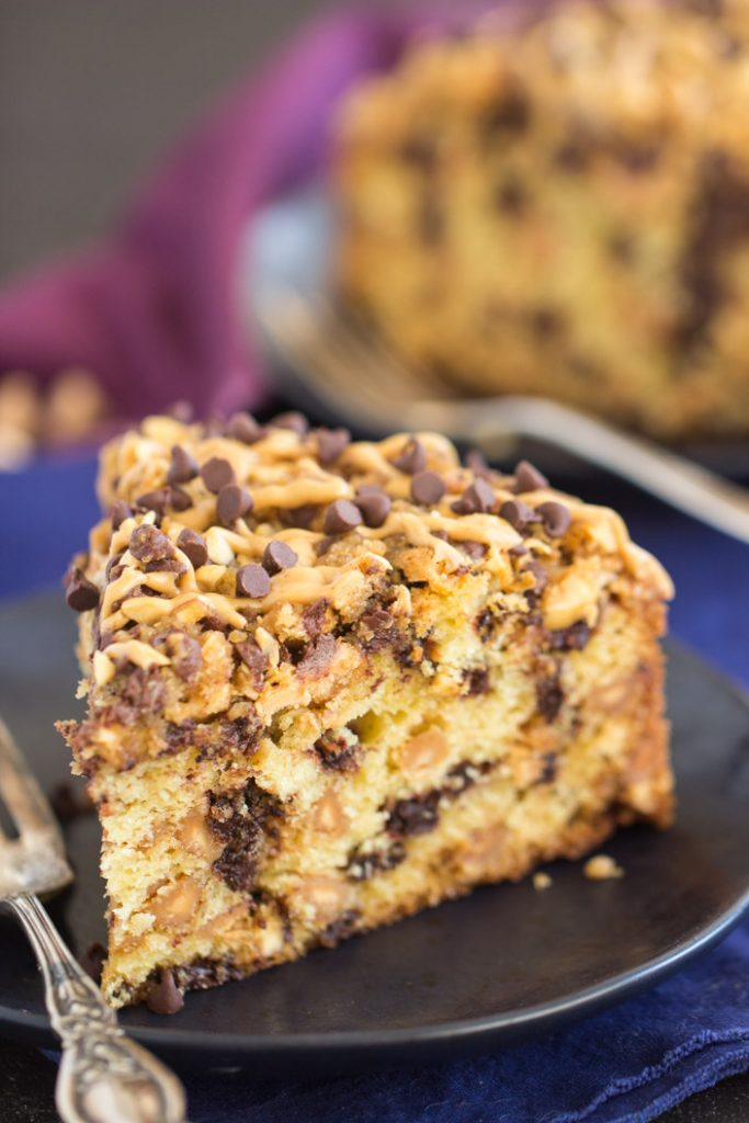 Chocolate Peanut Butter Coffee Cake recipe image thegoldlininggirl.com 8