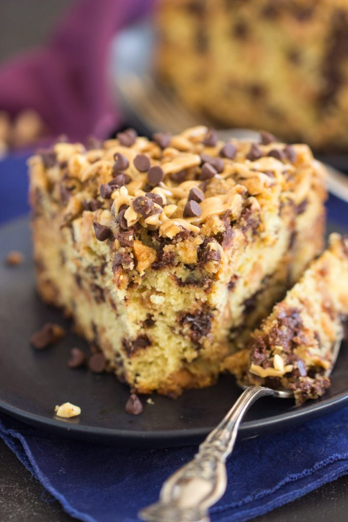 Chocolate Peanut Butter Coffee Cake recipe image thegoldlininggirl.com 9
