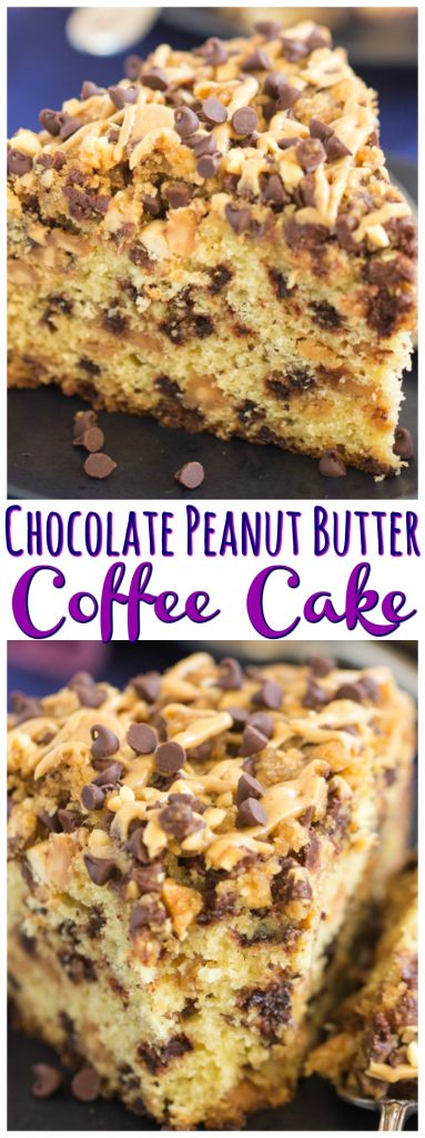 Chocolate Peanut Butter Coffee Cake recipe image thegoldlininggirl.com long pin 1