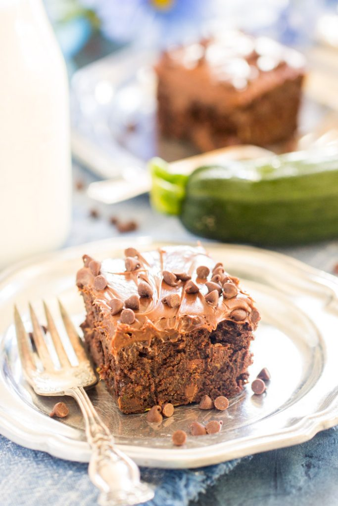 Death by Chocolate Zucchini Brownies recipe image thegoldlininggirl.com 1