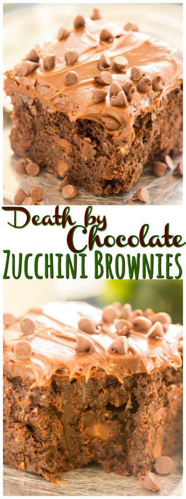 Death by Chocolate Zucchini Brownies recipe image thegoldlininggirl.com long pin 1