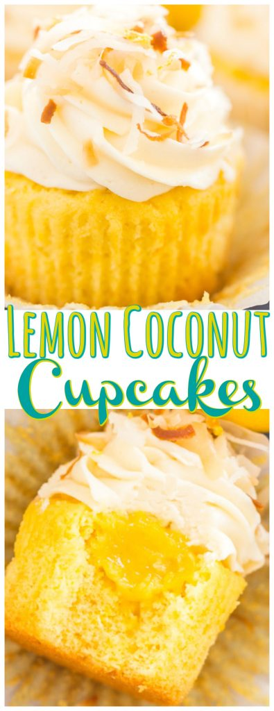 Lemon Coconut Cupcakes recipe image thegoldlininggirl.com long pin 1