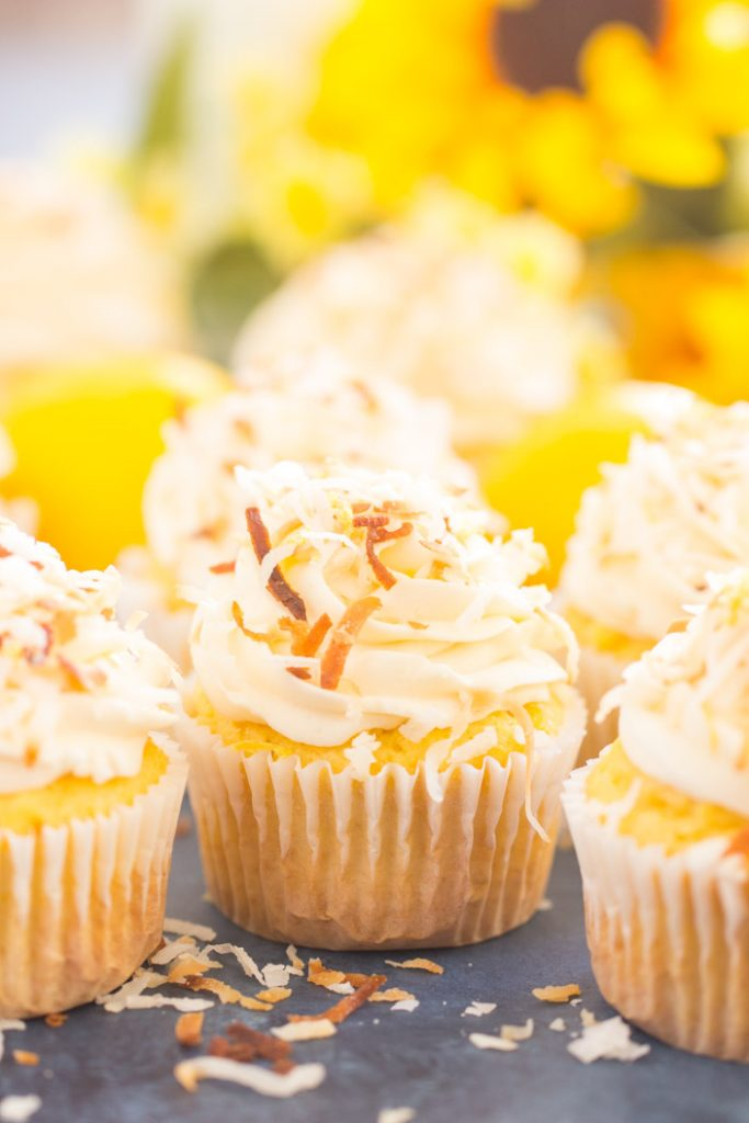 Lemon Coconut Cupcakes with Coconut Buttercream recipe image thegoldlininggirl.com 14