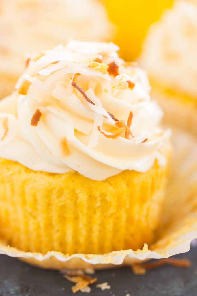 Lemon Coconut Cupcakes with Coconut Buttercream recipe image thegoldlininggirl.com 17