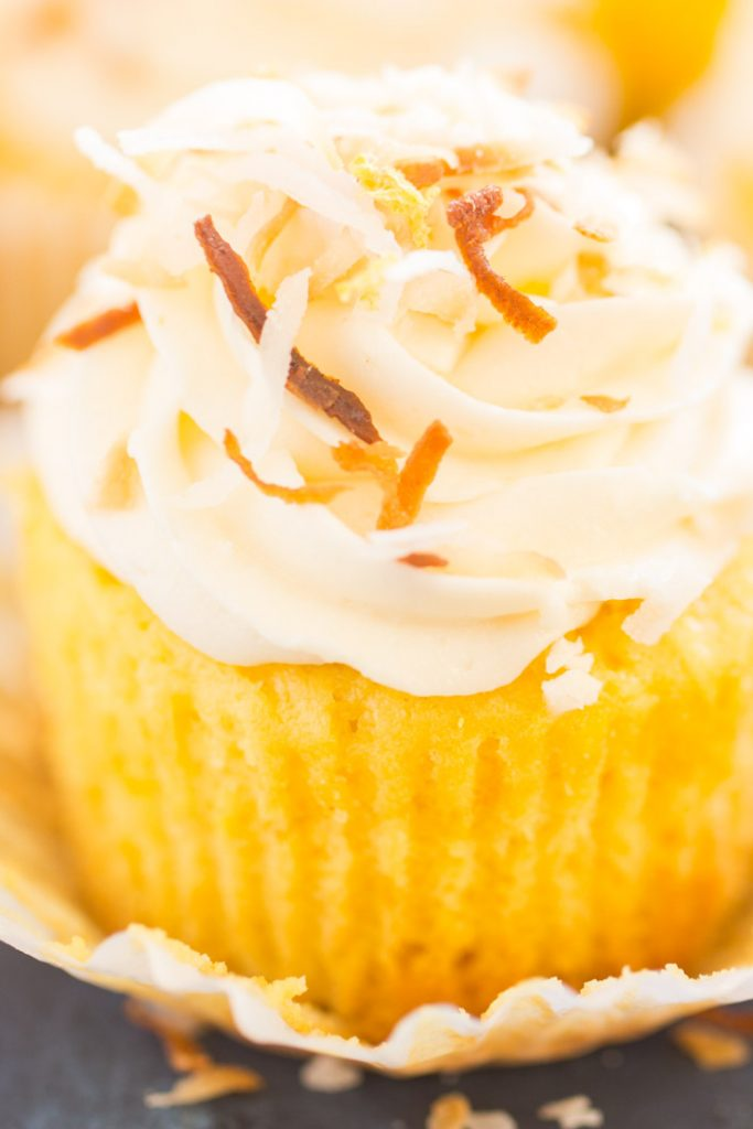 Lemon Coconut Cupcakes with Coconut Buttercream recipe image thegoldlininggirl.com 19
