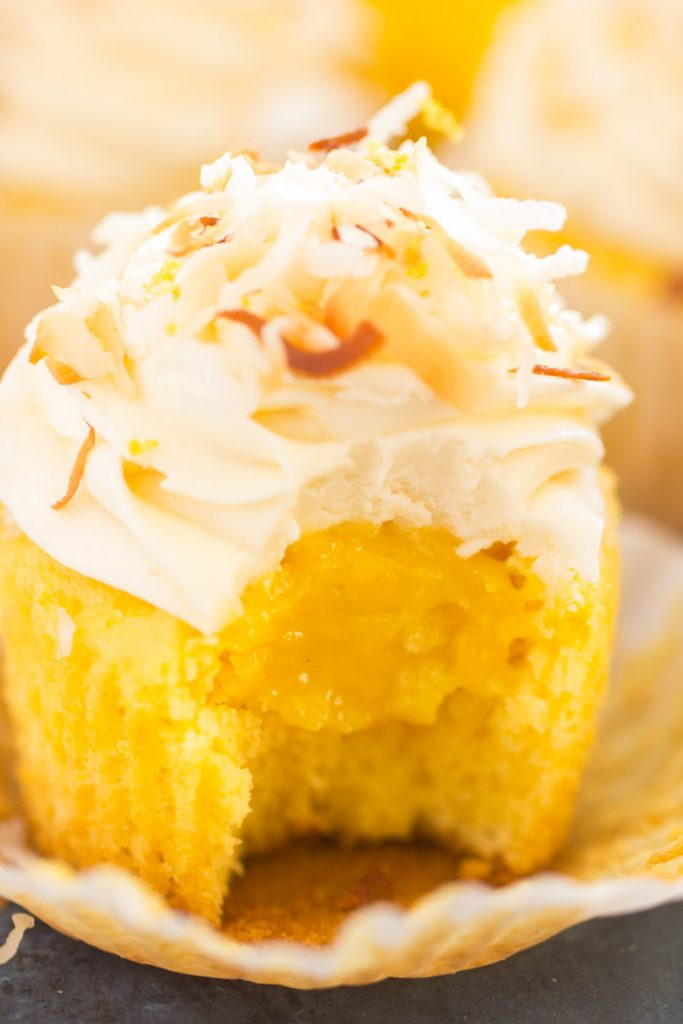 Lemon Coconut Cupcakes with Coconut Buttercream recipe image thegoldlininggirl.com 22