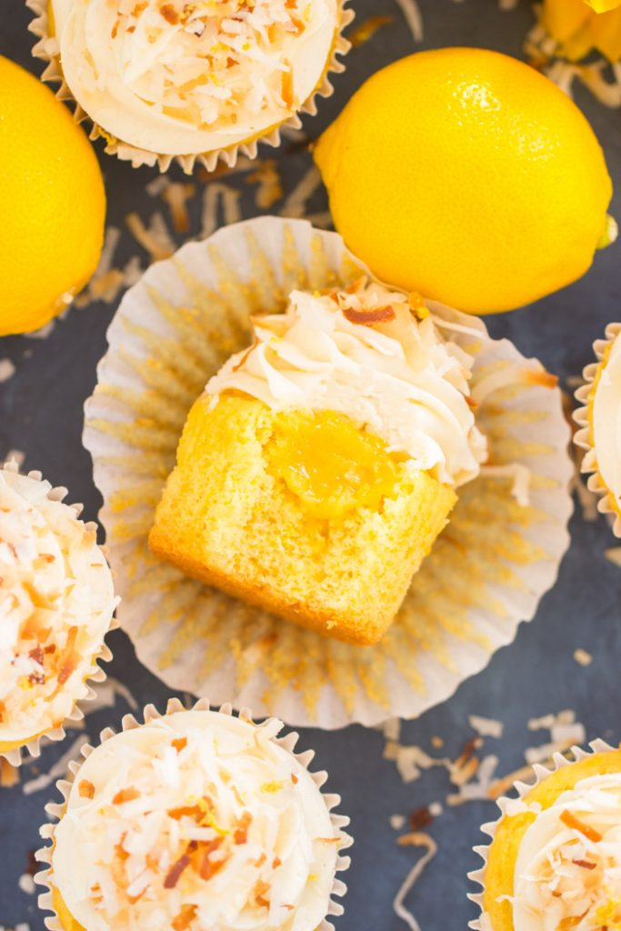 Lemon Coconut Cupcakes with Coconut Buttercream recipe image thegoldlininggirl.com 24