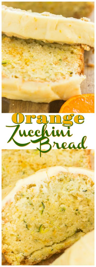 Orange Zucchini Bread with Orange Glaze recipe image thegoldlininggirl.com long pin 1