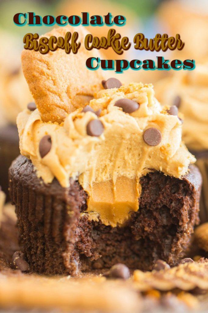 Chocolate Cookie Butter Cupcakes recipe image thegoldlininggirl.com short pin 1