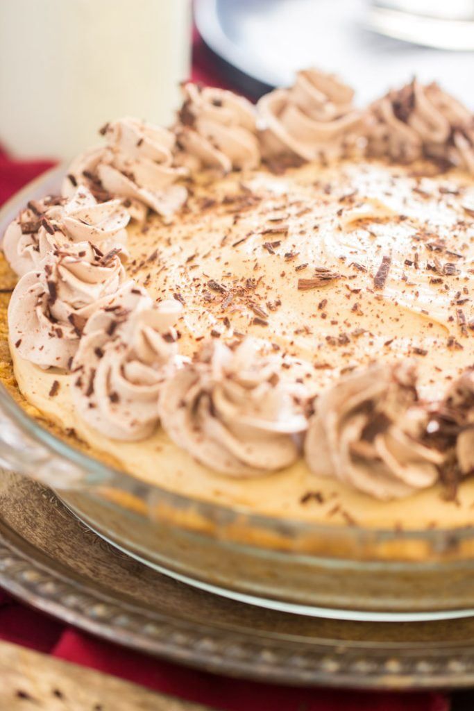 No Bake Chocolate Peanut Butter Pie recipe image thegoldlininggirl.com 2