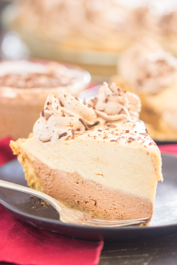 No Bake Chocolate Peanut Butter Pie recipe image thegoldlininggirl.com 600x900 1