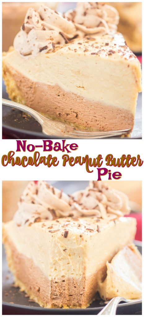 No Bake Chocolate Peanut Butter Pie recipe image thegoldlininggirl.com long pin 1