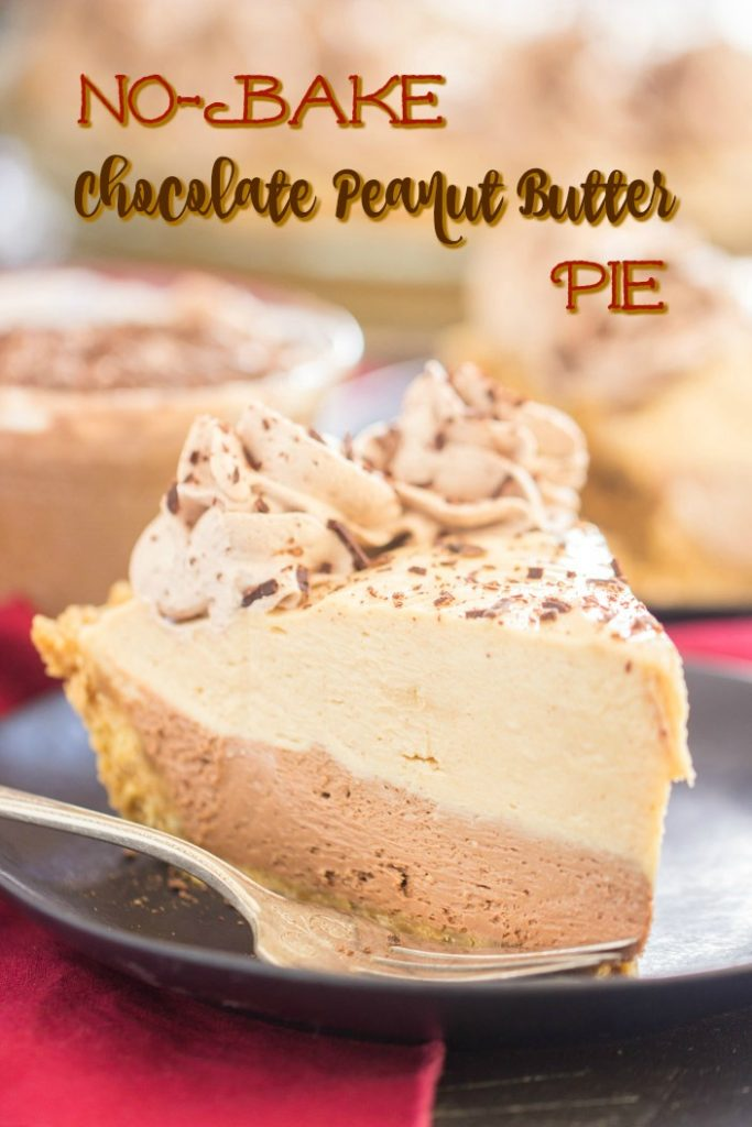 No Bake Chocolate Peanut Butter Pie recipe image thegoldlininggirl.com short pin 1