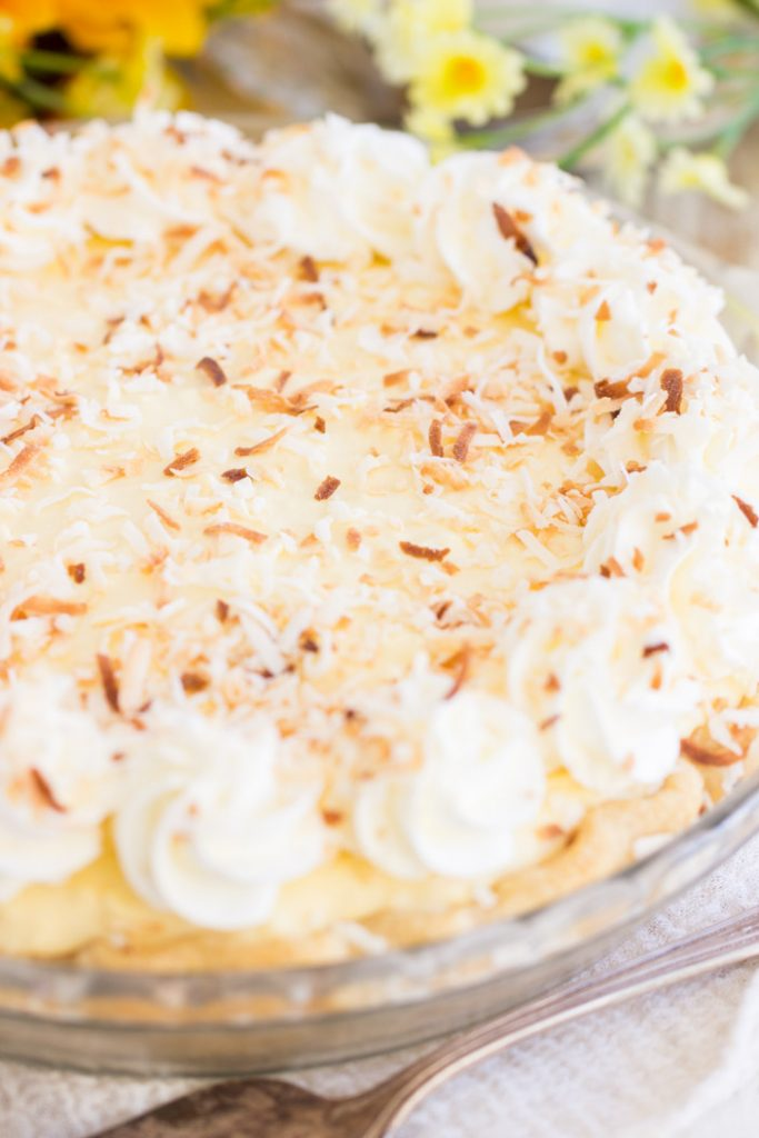 No Bake Easy Coconut Cream Pie recipe image thegoldlininggirl.com 2