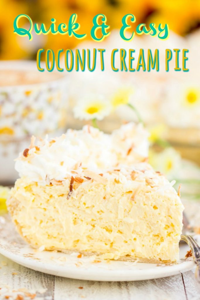 No Bake Easy Coconut Cream Pie recipe image thegoldlininggirl.com short pin 1