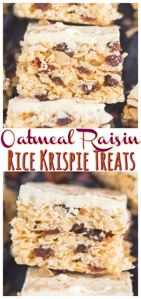 Oatmeal Raisin Rice Krispie Treats recipe image thegoldlininggirl.com pin 1