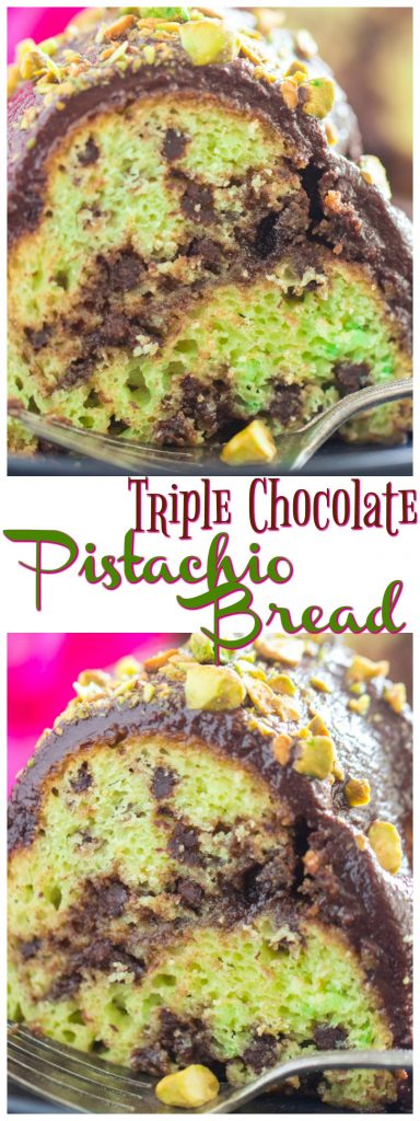 Triple Chocolate Pistachio Bread recipe image thegoldlininggirl.com long pin 1