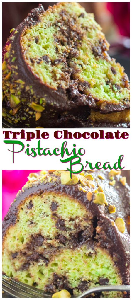 Triple Chocolate Pistachio Bread recipe image thegoldlininggirl.com long pin 2