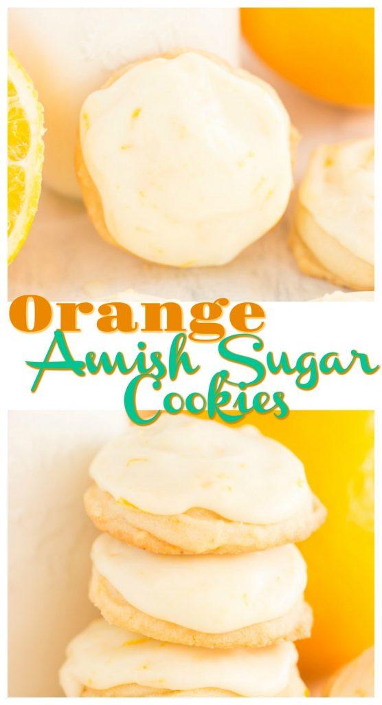 Iced Orange Amish Sugar Cookies recipe image thegoldlininggirl.com pin 1