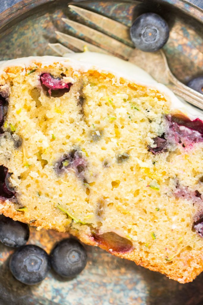 Lemon Blueberry Zucchini Bread with Lemon Glaze recipe image thegoldlininggirl.com 18