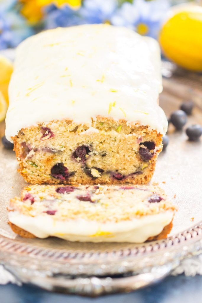 Lemon Blueberry Zucchini Bread with Lemon Glaze recipe image thegoldlininggirl.com 4