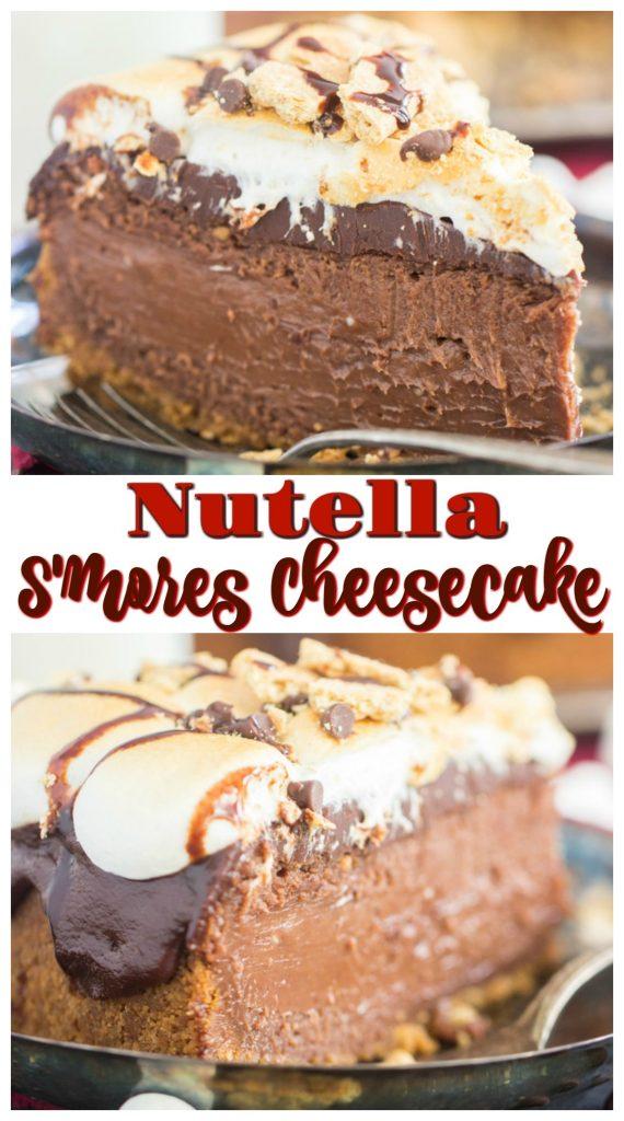 Nutella S'mores Cheesecake recipe image thegoldlininggirl.com pin 1