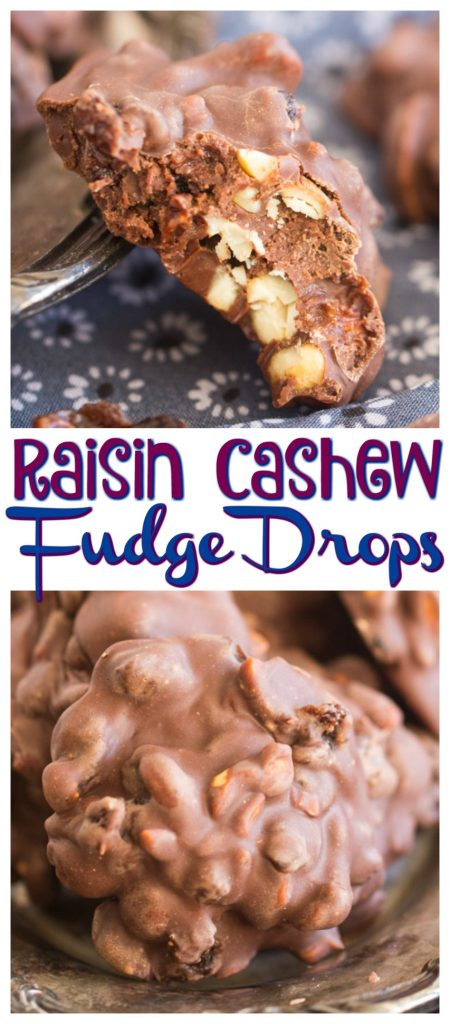 Raisin Cashew Fudge Drops recipe image thegoldlininggirl.com pin 1