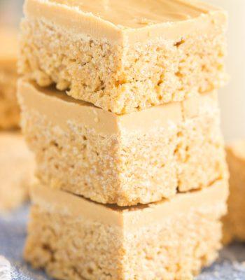 White Chocolate Peanut Butter Scotcheroos recipe image thegoldlininggirl.com 600x900 2