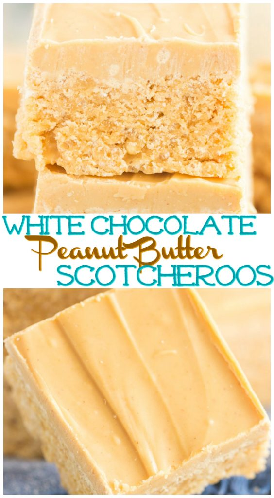 White Chocolate Peanut Butter Scotcheroos recipe image thegoldlininggirl.com pin 1