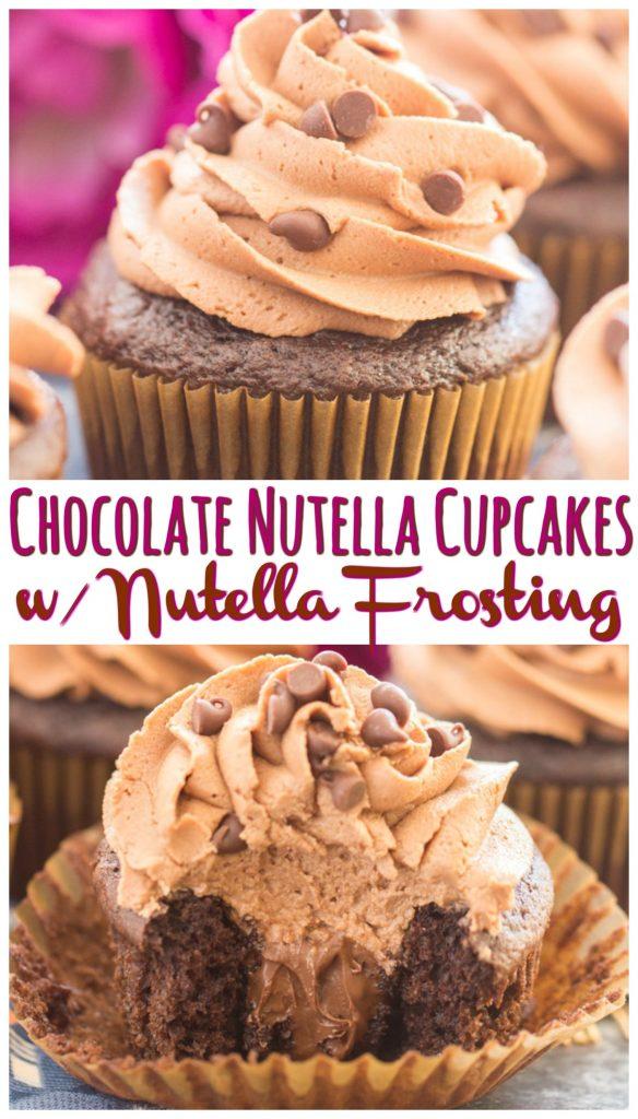 Chocolate Nutella Cupcakes with Nutella Buttercream recipe image thegoldlininggirl.com pin 1