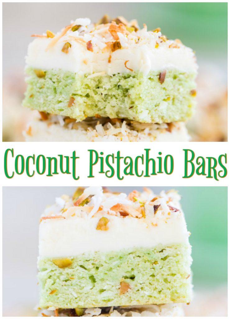 Coconut Pistachio Bars recipe image thegoldlininggirl.com pin 1