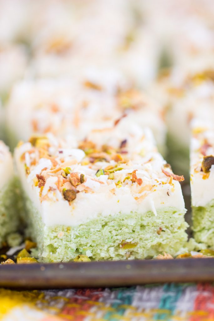 Coconut Pistachio Bars with Coconut Cream Cheese Frosting recipe image thegoldlininggirl.com 2