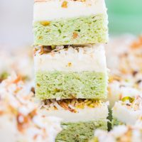 Coconut Pistachio Bars with Coconut Cream Cheese Frosting