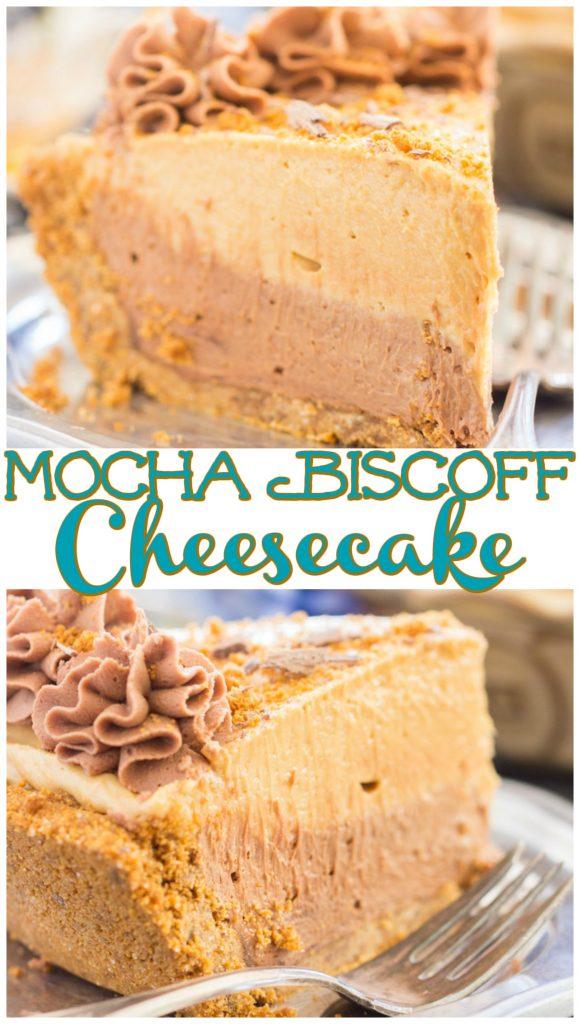 No Bake Mocha Biscoff Cheesecake recipe image thegoldlininggirl.com pin 1