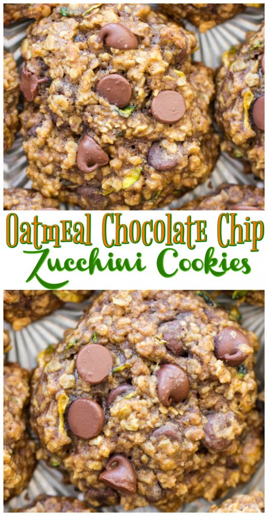 Oatmeal Chocolate Chip Zucchini Cookies recipe image thegoldlininggirl.com pin 1