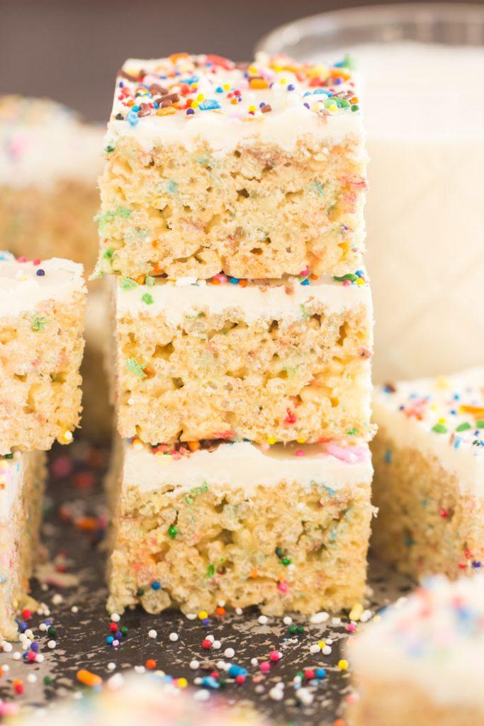 Funfetti Birthday Cake Rice Krispie Treats recipe image thegoldlininggirl.com 1