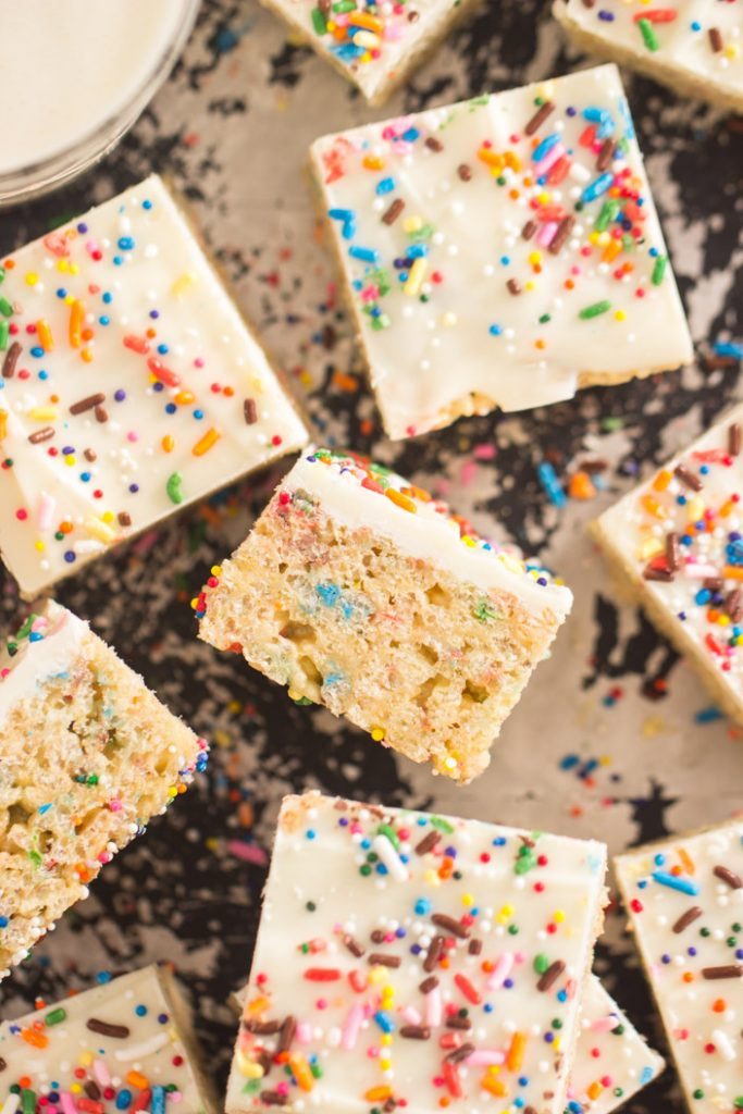 Funfetti Birthday Cake Rice Krispie Treats recipe image thegoldlininggirl.com 8