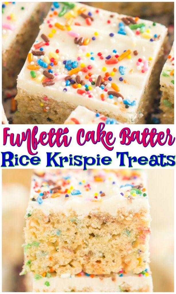 Funfetti Cake Batter Rice Krispie Treats recipe image thegoldlininggirl.com pin 1