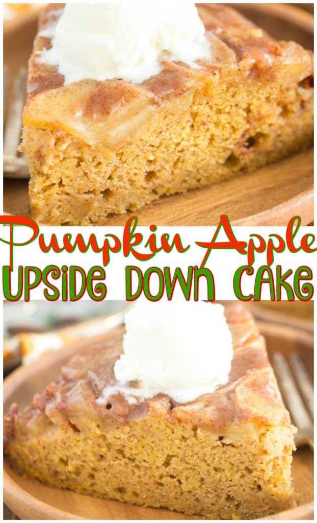 Pumpkin Apple Upside Down Cake recipe image thegoldlininggirl.com pin 1