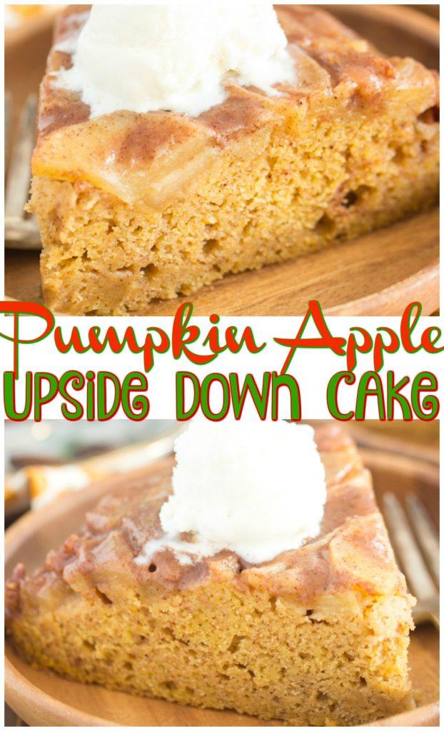 Pumpkin Apple Upside Down Cake recipe image thegoldlininggirl.com pin 1